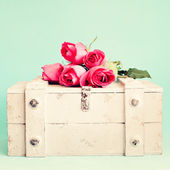 Roses over a chest — Foto de Stock