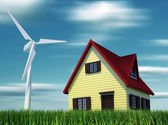 House powered by wind turbines — Stock Photo