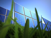 Solar panel in grass  — Stock Photo