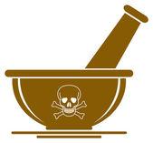 Mortaio segno cranio & pestello - concetto di pericolo medicina — Vettoriale Stock