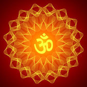 Spiritual Om On Mandala Background — Stock Vector