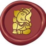 Golden Ganesha Wax Seal — Stock Photo