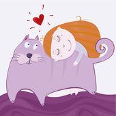 Girlie with kitten — Stock Vector