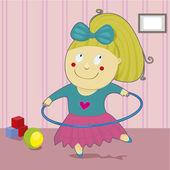 Girl with hoop — Stock Vector