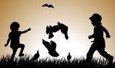 Children silhouettes — Stock Vector