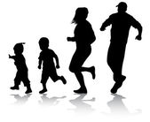 Active family silhouettes — ストックベクタ