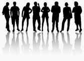 Group of people silhouettes — Stock Vector