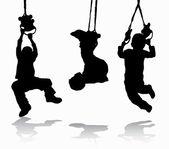 Boy gymnastic silhouette — Stockvektor