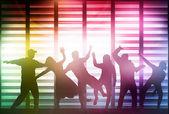 Siluetas de gente bailando feliz — Vector de stock