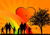 Happy people silhouettes — ストックベクタ
