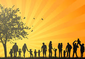 Big family silhouettes — ストックベクタ