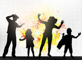 Dancing family silhouettes — Stock Vector