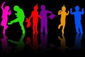 Happy children silhouettes — Stock Vector