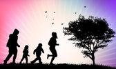 счастливые семьи силуэты — Cтоковый вектор