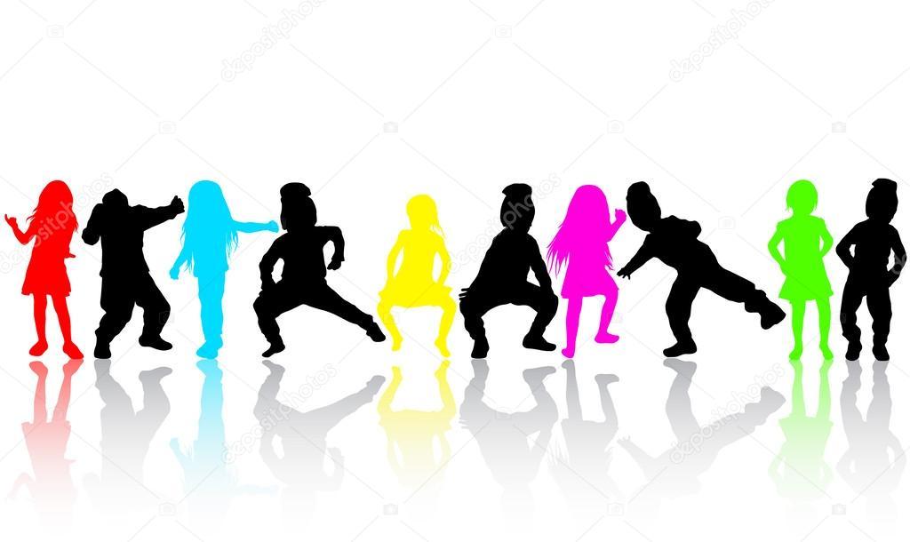 舞蹈儿童剪影 — 图库矢量图像08