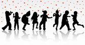 Dancing children silhouettes — Stock Vector