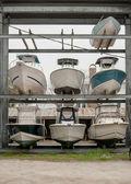 小船在冬天的存储 — 图库照片