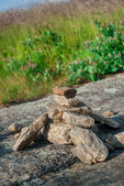 Rock cairn langs de appalachian trail — Stockfoto