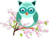One blue owl on twig of tree — ストック写真