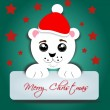 Polar bear with label Merry Christmas — Stock Photo #51065725