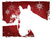 Red christmas horse card — Stock Photo