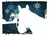 Christmas horse card — Stock Photo