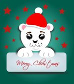 Polar bear with label Merry Christmas — Stock Photo