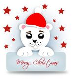 Santa bear with label Merry Christmas — Stock Photo