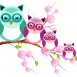 Four owls on twig of tree — Stock Photo #51187327