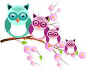 Four owls on twig of tree — Stockfoto