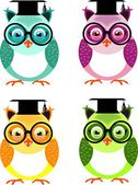 Set of wise owls — Stock Photo