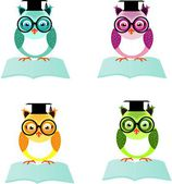 Set of four wise owls — Stock Photo