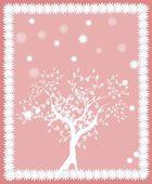 Cartão de árvore rosa — Fotografia Stock