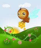Cute bee above floral landscape — Стоковое фото