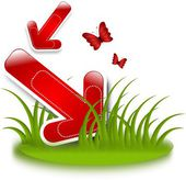 草の赤い矢印 — ストック写真