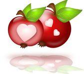 Dwa jabłka z serca — Zdjęcie stockowe