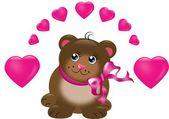 Słodkie niedźwiedź brunatny z serca — Zdjęcie stockowe
