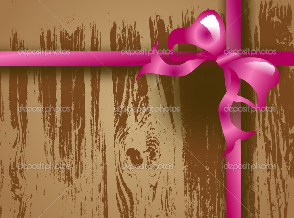 木材用粉红色的丝带