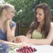 Shot of a happy young girl friends enjoying weather outside — Stock Video #51289227
