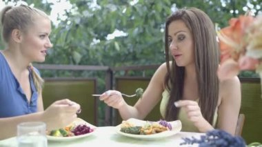 Shot of a pretty young girl friends enjoying dinner outside in a garden. — Stock Video