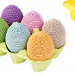 Colorful crocheted eggs in a box — Stock Photo #50635855