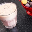 Cherry milk shake in a glass cup — Stock Photo #51066469