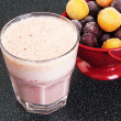 Cherry milk shake in a glass cup — Stock Photo #51137409