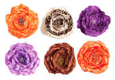 Several artificial flowers - top view  — Stock Photo