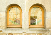 Two windows with stained glass — Stock Photo
