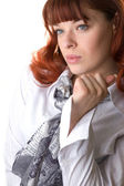 Red haired woman wearing a blouse  — Stock Photo