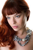 Sad red haired girl close-up — Stock Photo