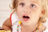 Surprised amazed little girl — Stock Photo