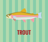 Trout - drawing on green background. — Stock Vector