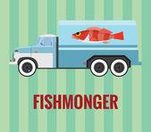 Fishmonger truck - vector drawing — Stock Vector
